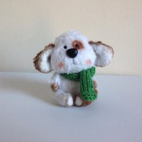 Brown teddy dog, collectible dog toy, brown and white puppy, handmade miniature puppy dog, doll toy, cute puppy, green scarf, Jack russel - Teddy Gifts