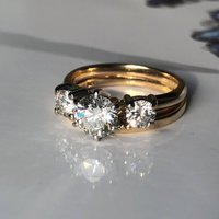 14kt Yellow Gold Trilogy Wedding Engagement Ring Set With Round Brilliant Cut Diamonds F/G Colour VS/SI Clarity 1.25ct total weight - Engagement Ring Gifts