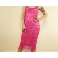 Vintage 90s Pink Crochet Sequin  Beaded Fringed Hippie Maxi Dress - Seek Gifts