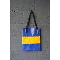 Wyatt and Jack Made in UK Upcycled Bouncy Castle PVC Tote Shopper Bag in Royal Blue  Yellow - Bouncy Gifts