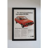 Vintage Ford Car RS200 Framed Advert, Old Fashioned Driving Poster, Wall Art Decor Office Man Cave Garage, Unique Sentimental Gift Him Her - Sentimental Gifts
