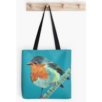 Turquoise  Robin  Bird Lover  Tote Bag  Handbag  Shopping Bag  Shoulder Bag  Cotton Canvas  Kirstin Wood Artist  Original Art - Artist Gifts