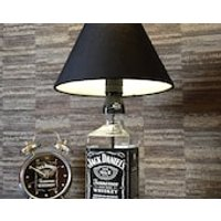 Jack Daniels Whisky Bottle Lamp With Black Coolie Shade Upcycled 70cl - Jack Daniels Gifts