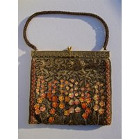 A Rare Vintage 1920s Bronze Lam silk Handbag Purse, Beaded and Embroidered with Lucite Flowers, Unique, Evening Bag Purse, Gift for Her - Handbags Gifts