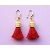 Red Tassel Earrings  Eastern Oriental Chinese Dangle Earrings - Oriental Gifts