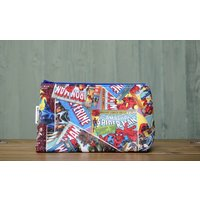 Handmade with Marvel Comics Fabric Hulk Spiderman Wolverine  zip up make up / toiletries / pencil case / wash bag pouch Avengers Geek - Wolverine Gifts