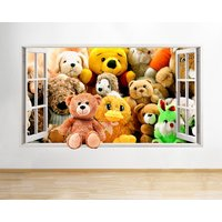 Q554 Teddy Bears Kids Toys Bedroom Window Wall Decal 3D Art Stickers Vinyl Room Kids Bedroom Baby Nursery Cool Livingroom Hall Boys Girls - Teddy Bears Gifts