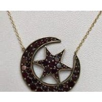 Antique Victorian garnet crescent moon  star necklace, Sentimental, Love Token, Romantic, Gift, Jewelry, Jewellery, Statement, Friendship - Sentimental Gifts