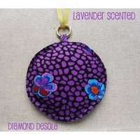Lavender Filled Sachet Pillow Purple flower Cotton with Gold Alloy Circle clip. Kaffe Fassett Print. Aromatherapy relaxation gift, UK Made - Aromatherapy Gifts