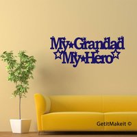 My Grandad My Hero Hanging Decoration, Wood Meme Sign, Wood Sign Decor, Wood Word Sign, Family Quote - Grandad Gifts