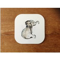 Baby Elephant Coffee Coaster  House Warming Gift  Elephant Lover  New home  Gift  New house  Home Decor  Elephant Decor  Baby Animal - Warming Gifts