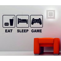 Eat Sleep Game Playstation Xbox Wii Decor Art Vinyl Wall Sticker PS4 Console Boxing Day Sales - Xbox Gifts
