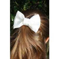Silk  Crystal Organza Bow Barette Hairslide for Bridesmaids, Flower Girls or Holy Communion - First Holy Communion Gifts