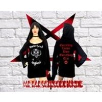 Motorhead  England Mini Hooded Dress Long Bell flared Sleeves Handmade Gothic Reaper Witch Pixie - Motorhead Gifts