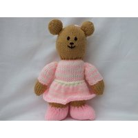 Hand Knitted Teddy Bears, Stuffed Soft Toys, Knitted Pink and Blue Teddies - Teddy Bears Gifts