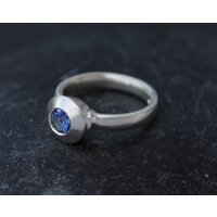 Blue Sapphire Engagement Ring  Silver Sapphire Ring  Blue Gemstone Ring  Blue Sapphire Solitaire Ring  Made to Order  Free Shipping - Engagement Ring Gifts