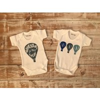 Adventure is Out There Gift Set  2 Organic Bodysuits  Hot Air Balloon Gift Set  Adventure Baby Shower Gift  Adventure Baby Clothes - Hot Air Balloon Gifts