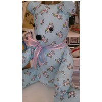 Teddy Bears. Unicorn in blue 15 sitting hight. soft, handmade, cotton mix fabric. Various patterns. - Teddy Bears Gifts