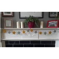 Star bunting  mustard and grey  crochet  garland  house warming  mantle garland  fireplace  bedroom decor  christmas decorations - Warming Gifts