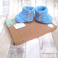 Baby crochet booties crocheted boots baby blue booties photo prop baby shower blue infant shoes ugg booties newborn 03 36 - Ugg Gifts