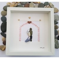 Pebble Art Picture Unique Wedding, Anniversary, Engagement, Birthday, Valentines gift. Bride and Groom Kissing under pink flower arch - Seek Gifts