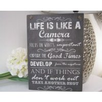 Handmade Wall Plaque Sign, Life Like a Camera Inspirational Quote Gift, Friend New Home House Warming. Plaque Gift Present Wall door Sign - Warming Gifts