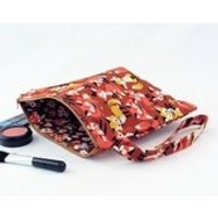 Make up bag, fox fabric bag, mushroom fabric bag, cosmetic pouch, autumnal colours, gadget tote case, cute fox fabric, brown mushroom fabric - Mushroom Gifts