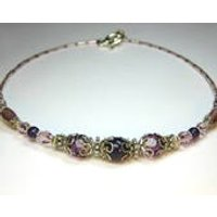 Genuine Stunning Amethyst Gemstones and Sparkling Lilac Mauve and Baby Pink Crystals and Antique Tibetan Silver Ombre Collar Necklace - Lilac Gifts