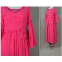 Vintage dress, 1960s evening dress, Bold pink party dress with beaded / sequin detailing, 60s evening hostess dress, Sixties dress - Seek Gifts