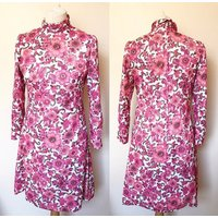 Vintage 1960s Floral Polo Neck Dress  UK Size 12/US Size 8 - Polo Gifts