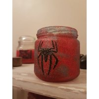 Handpainted upcycled jar storage pot. Glitter spider man blue and red. - Spider Man Gifts