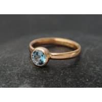 Aquamarine Ring in 18K Rose Gold  Rose Gold Aquamarine Engagement Ring  AAAA Aquamarine Solitaire Ring  Made to order  FREE SHIPPING - Engagement Ring Gifts