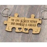 The Love Between Mother And Daughter Is Forever Personalised Jigsaw Keyring Set - Jigsaw Gifts