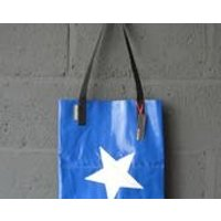 UK Handmade Upcycled Salvaged Bouncy Castle PVC Navy Blue and White Military Star Tote Bag - Bouncy Gifts