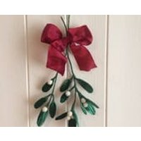 Mistletoe Christmas decoration a double sprig of handmade silk velvet leaves tied with red festive bow - Mistletoe Gifts