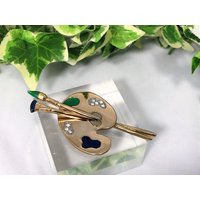 A Lovely Vintage Large Blue and Green Enameled Gold Tone and Diamante Artist Easel Brooch - Artist Gifts