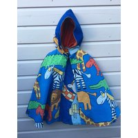 Vintage Jungle animals Bob the Builder fabric 1980s 90s hand made cape recycled upcycled Super Hero childrens eco boys girls Age 4 5 6 yrs - Bob The Builder Gifts