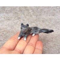 Cat Christmas Gift Grey Tabby Cat Dolls House 1:12  Miniature Artist Handmade OOAK Bear Trimble Berry Bears - Artist Gifts
