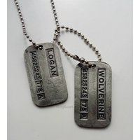 XMen Wolverine Logan Brushed Steel Double Dog Tag Pendant Necklace - Wolverine Gifts