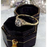 Antique / Edwardian Art Deco 14ct Gold Diamond Solitaire Filigree Engagement Ring / Size N 1/2 - Engagement Ring Gifts