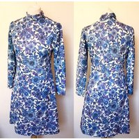 Vintage 1960s Floral Polo Neck Dress  UK Size 12/US Size 10 - Polo Gifts