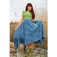 Green and Blue long Highland Fairy dress. Upcycled clothing,fae,ethical fashion,whimsical,boho, hippie, festival, reconstructed, designer - Fairy Gifts