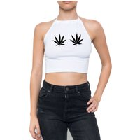 weed cannabis HALTER TOP crop t shirt strappy womens girls fun tumblr hipster swag grunge pink goth 90s retro marijuana drugs high festival - Cannabis Gifts