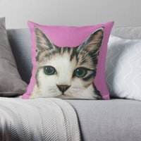 Pink  Tabby Cat  Cat Lover  Cushion  Throw Cushion  Pillow  Throw Pillow  Cotton Canvas  Kirstin Wood Artist  Original Art - Artist Gifts