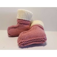 Merino Wool Baby Booties Stayon Ugg Boot Design Dusky Pink Size Newborn 0  3 Months Baby Boots Socks 100% Australian Merino Wool - Ugg Gifts