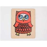 Vintage wooden jigsaw puzzle in owl design 1970s - Jigsaw Puzzle Gifts