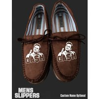 johnny cash Mens slippers xmas gift rock ring fire custom personalised footwear - Johnny Cash Gifts