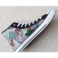 NEW! Canvas Shoes Hand Customised with Marvel Character Group Fabric, Thor, Spider Man, The Hulk, Iron Man, Captain America. - Iron Man Gifts