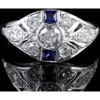 Sapphire Diamond Cluster Ring 18ct White Gold Engagement Ring - Engagement Ring Gifts