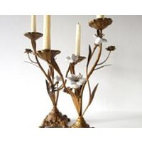 2 Gilded French Altar Style Candelabra Candle Holder With Ceramic White Flowers   Candles not included - Seek Gifts